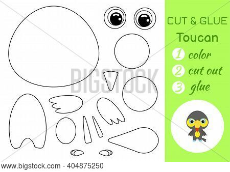 Coloring Book Cut And Glue Baby Toucan. Educational Paper Game For Preschool Children. Cut And Paste