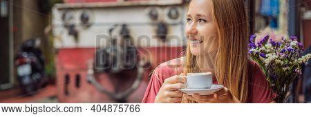 Banner, Long Format Young Woman Traveler Drinks Vietnamese Coffee With Egg Sitting By The Railway Pa