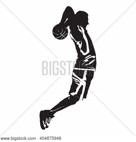 Young Man Athlete, Professional Basketball Player Silhouette Shooting Ball Into The Hoop Jumping In