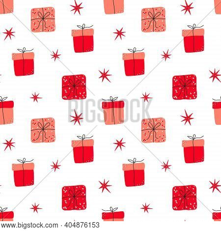 Hand Drawn Valentine's Day Romantic Seamless Pattern With Cute Gift Box, Presents And Stars. Vector