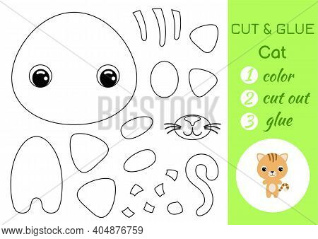 Coloring Book Cut And Glue Baby Cat. Educational Paper Game For Preschool Children. Cut And Paste Wo