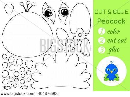 Coloring Book Cut And Glue Baby Peacock. Educational Paper Game For Preschool Children. Cut And Past