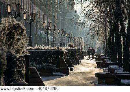 Minsk, Belarus - January 24, 2018: Boulevard with fountains at Lenina street in Minsk downtown. Street scene from Minsk, Belarus in winter
