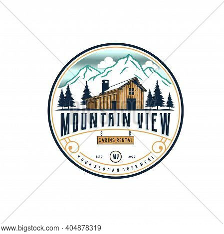 Mountain View With Cabin For Village House Rent Logo Premium Vector