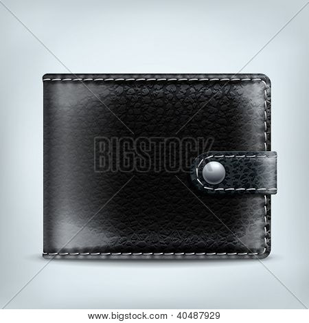 Vector realistic black leather wallet. Internet wallet icon
