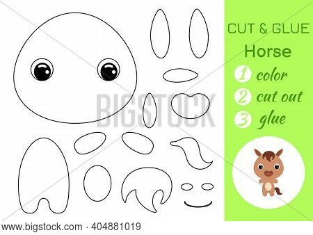 Coloring Book Cut And Glue Baby Horse. Educational Paper Game For Preschool Children. Cut And Paste