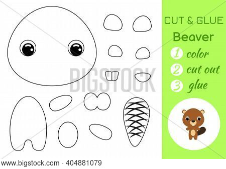 Coloring Book Cut And Glue Baby Beaver. Educational Paper Game For Preschool Children. Cut And Paste