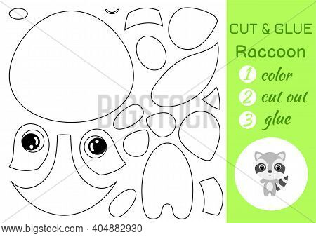 Coloring Book Cut And Glue Baby Raccoon. Educational Paper Game For Preschool Children. Cut And Past