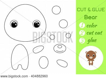Coloring Book Cut And Glue Baby Bear. Educational Paper Game For Preschool Children. Cut And Paste W