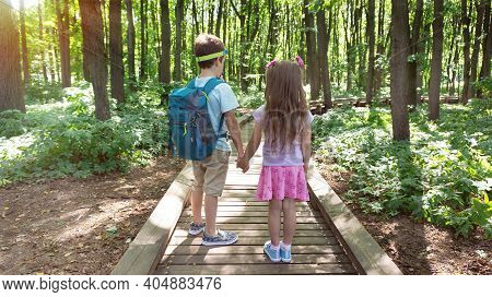 Family Ecotourism In The National Reserve. Children Walk Along An Equipped Hiking Trail In The Fores