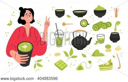 Green Matcha Tea Serve And Drink By A Young Woman. Matcha Latte Healthy Drink.various Tea Products M