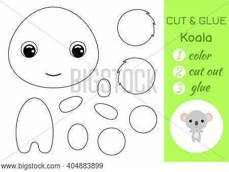Coloring Book Cut And Glue Baby Koala. Educational Paper Game For Preschool Children. Cut And Paste