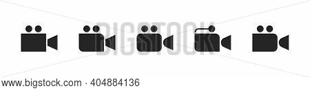 Video Camera Icons Set. Film Camera, Movie Camera Icons. Video Recorder Icons. New Icons. Vector Ill
