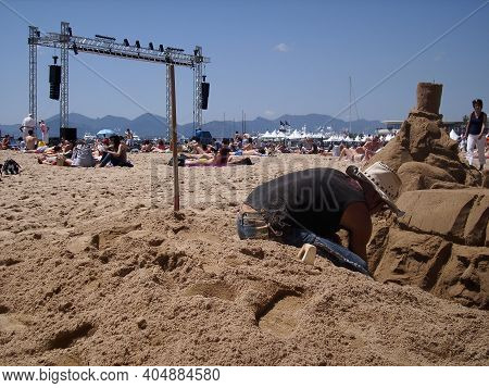 Cannes, France - 07th May 2018: A German Photographer Visiting The French Riviera, Exploring An Outd