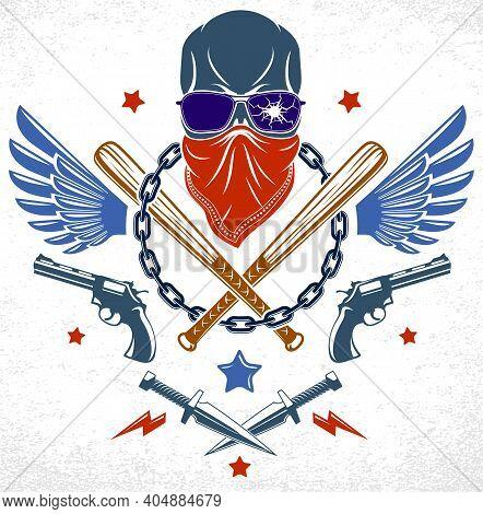 Gang Brutal Criminal Emblem Or Logo With Aggressive Skull Baseball Bats And Other Weapons And Design