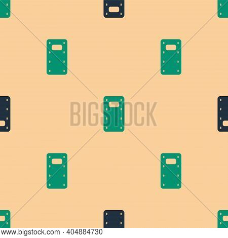 Green And Black Military Assault Shield Icon Isolated Seamless Pattern On Beige Background. Vector