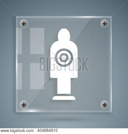 White Human Target Sport For Shooting Icon Isolated On Grey Background. Clean Target With Numbers Fo