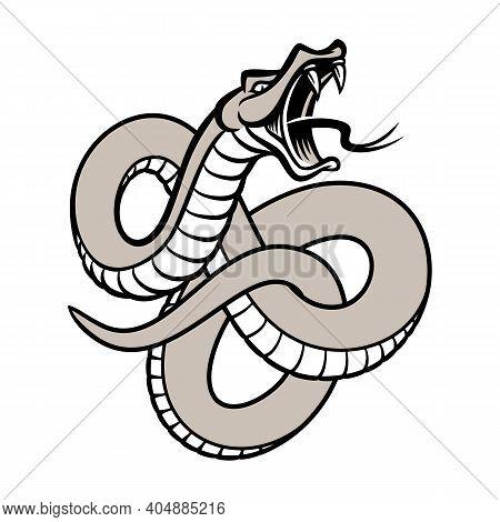 Snake Hand Drawn Vector Illustration Isolated On White Background. Snake Tattoo Artwork. Occult Post