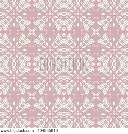 Orient Vector Classic Purple And White Pattern. Seamless Abstract Background With Vintage Elements.