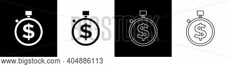 Set Time Is Money Icon Isolated On Black And White Background. Money Is Time. Effective Time Managem