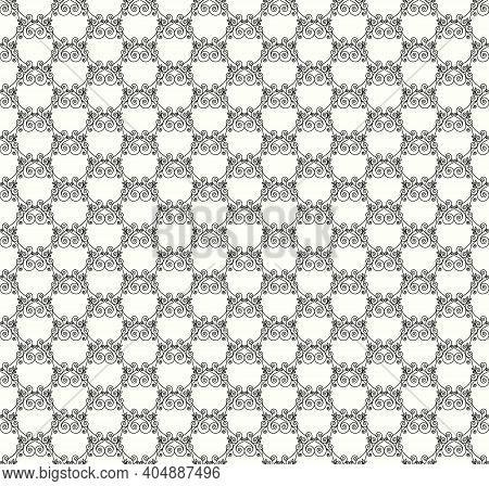Black Decorative Openwork Pattern On A White Background