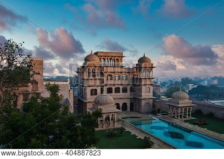 Mandawa, India - Dec 01, 2020: The Hindu Style Towers On The Roof Of Castle Mandawa, Rajasthan In In