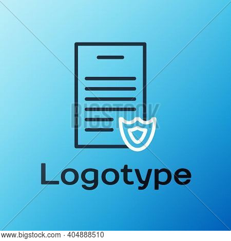 Line Firearms License Certificate Icon Isolated On Blue Background. Weapon Permit. Colorful Outline