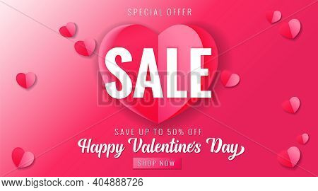 Happy Valentines Day Sale Pink Banner With Paper Heart. Valentine's Day Special Offer Card Save Up 5