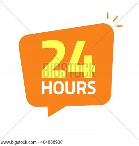 24hrs Icon Banner Vector Illustration, 24 Hours Open Tag Or Working Shop Service Label Info Sticker