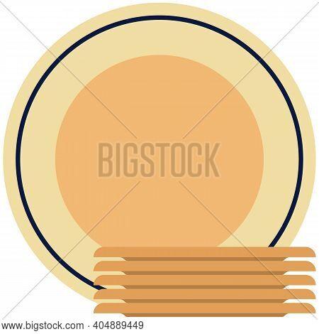 Dinner Plate Icons, Flat Vector Isolated Illustration. Tableware, Dinnerware, Crockery.