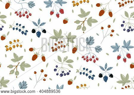 Berries Background. Strawberries, Blueberry, Raspberries, And Blackberry. Wild Berry Seamless Patter