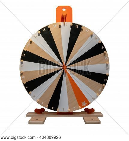 Wooden Wheel Of Fortune Game Isolated On White Background. Path Selection Included.