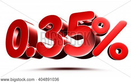 0.35 Percent Red On White Background Illustration 3d Rendering With Clipping Path.
