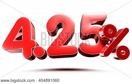 4.25 Percent Red On White Background Illustration 3d Rendering With Clipping Path.