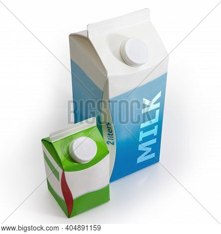 Big Carton Of Pasteurized Milk And Small Carton Of Fermented Milk Product With Screw Caps On A White