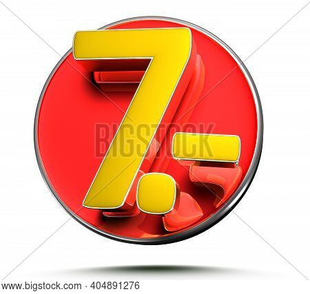 Number 7 Price Tag Isolated On White Background 3D Illustration With Clipping Path.