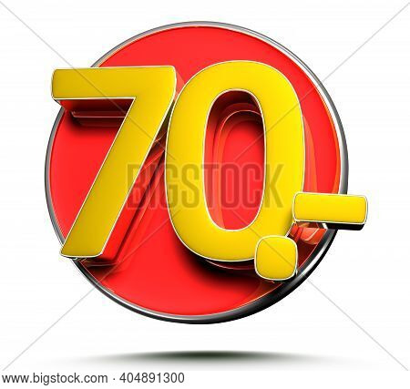 Number 70 Price Tag Isolated On White Background 3D Illustration With Clipping Path.