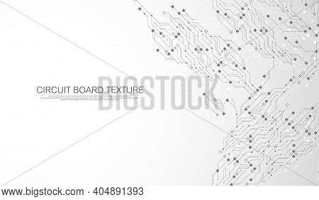Circuit Board Technology Background With Hi-tech Digital Data Connection System. Abstract Computer E
