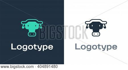Logotype African Buffalo Head Icon Isolated On White Background. Mascot, African Savanna Animal. Wil