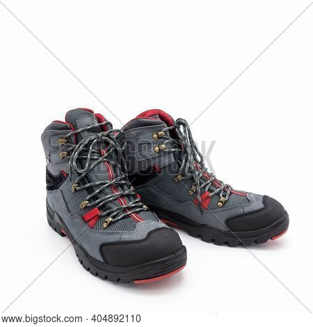 Trekking Boots For Men Made Of Natural Nubuck And Synthetic Mesh. Gray With Red And Black Trim. Meta