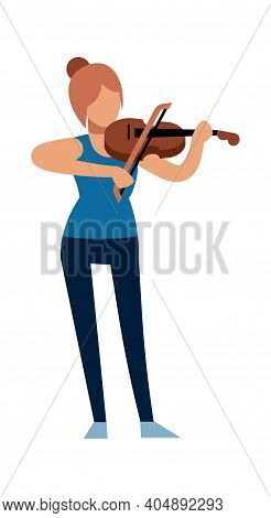 Woman Musician. Classic Female Violinist Character In Casual Clothes With Violin Plays Melody, Acous