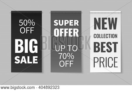 Textile Labels. Fabric Material Stitched Clothes Tags, Elegant White, Black, Grey Discount Flyers, S
