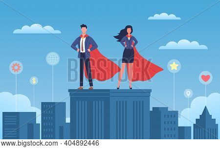 Business Heroes. Woman And Man With Red Capes And Suites On Skyscraper Roof, City Background With Di