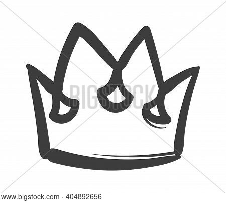 King Sketch Crown. Ink Drawing Royal Imperial Coronation Symbol, Hand Drawn Black Outline Icon, Luxu