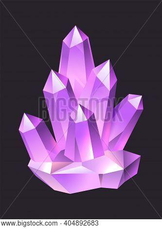 Purple Jewelry Cartoon Gems. Crystal Stalagmites And Stalactites, Colorful 3d Luxury Quartz, Neon Gl