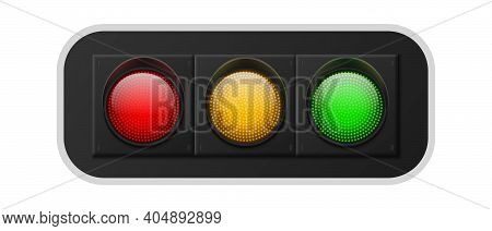 Realistic Traffic Lights. Urban Street Regulation System Signals With Three Colors Red, Yellow And G