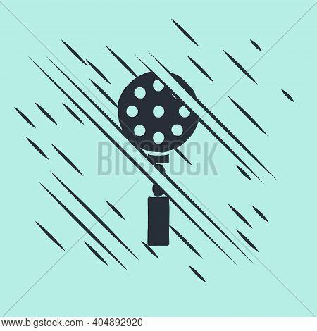 Black Spatula Icon Isolated On Green Background. Kitchen Spatula Icon. Bbq Spatula Sign. Barbecue An