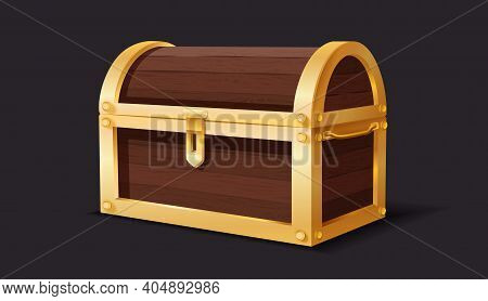 Treasure Chest. Medieval Mystery Pirate Treasures Illustration For Cartoon Game, Wooden And Golden M