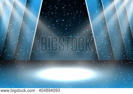 Festive Design With Lights. Poster For Concert, Party, Theater, Dance Template. Stage With Curtains.