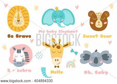 Safari Animal Heads Set Baby Animal Head Cute Animals Ant Text. Zebra, Bear, Koala, Lion, Elephant,
